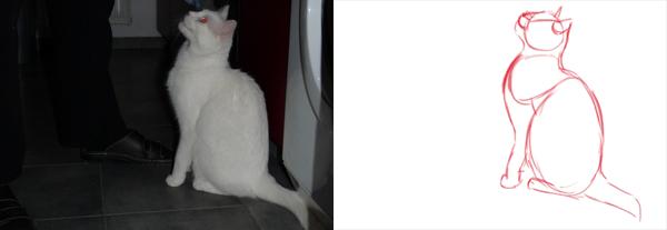 Katzen zeichnen - Grundformen Katze sitzend