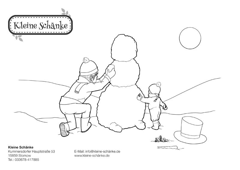 Winter Ausmalbild für Kinder