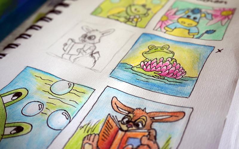 Farbskizzen für Kinderbilder