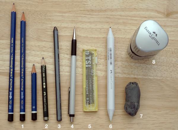 Mein Material für Bleistiftzeichnungen