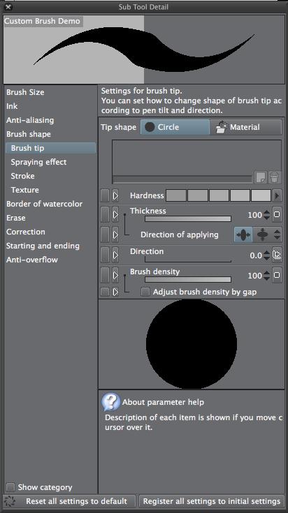Clip Studio Paint: Einstellungen für Brush bzw. Sub Tool