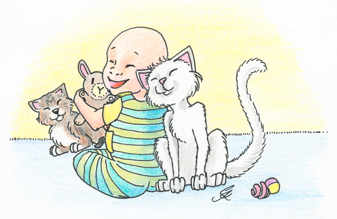 Baby und Katzen