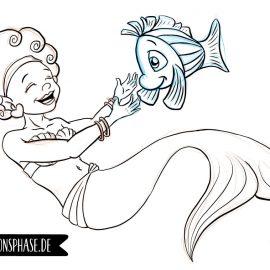 Meerjungfrau zeichnen (Ein Bild entsteht)