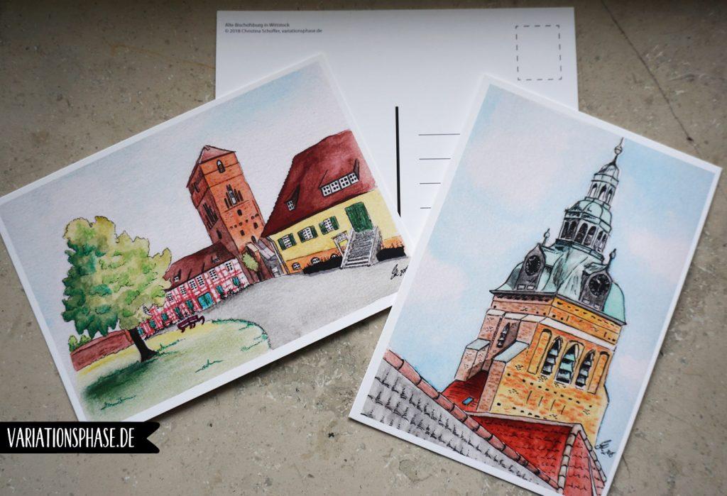 Zwei Aquarelle von Wittstock als Postkarten gedruckt