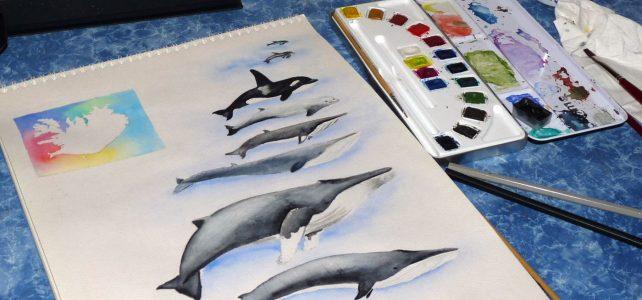 Aquarellprojekt: Wale in Island