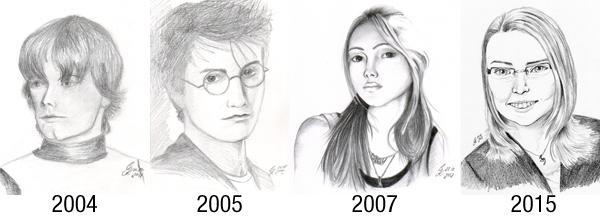 Portrait Zeichnungen im Laufe der Zeit