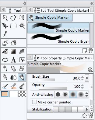 Tool Properties in Manga Studio