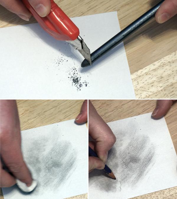 Bleistift-Effekte: Grafitpartikel