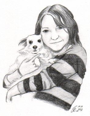Bleistiftportrait mit Hund