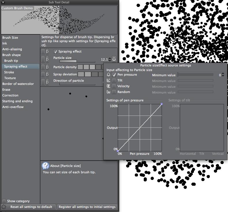 Clip Studio Paint: Einstellungen für Spraying Effect / Sprühdose
