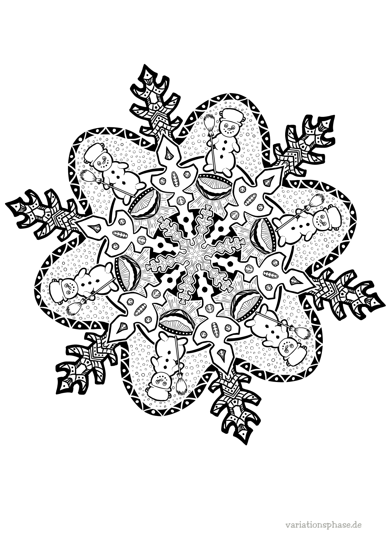 wintermandala zum ausmalen  variationsphase