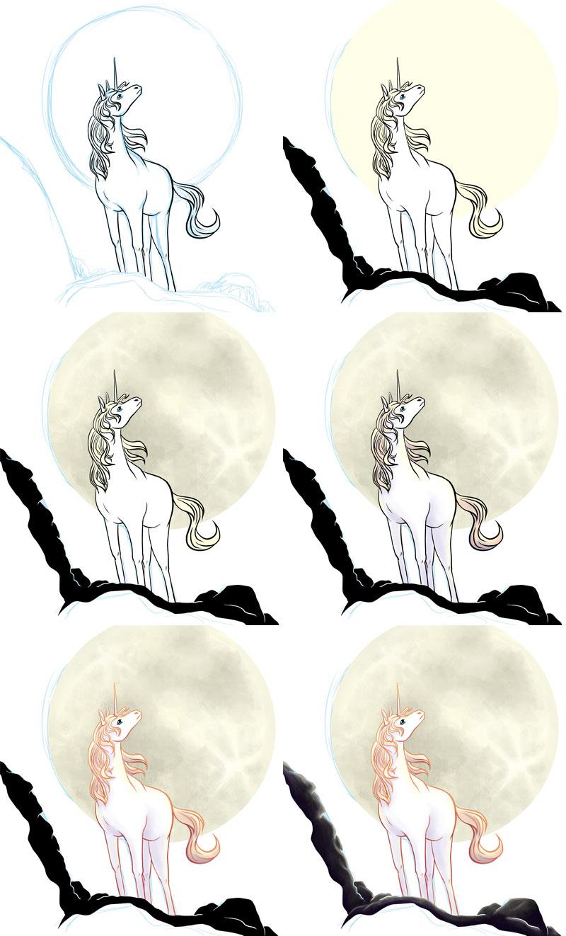 Einhorn zeichnen - Schritt für Schritt koloriert